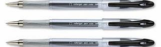 Office Roller Gel Pen Clear Barrel 1.0mm Tip 0.5mm Line Black [Pack 12]